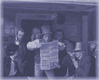 Astonished men looking at newspaper